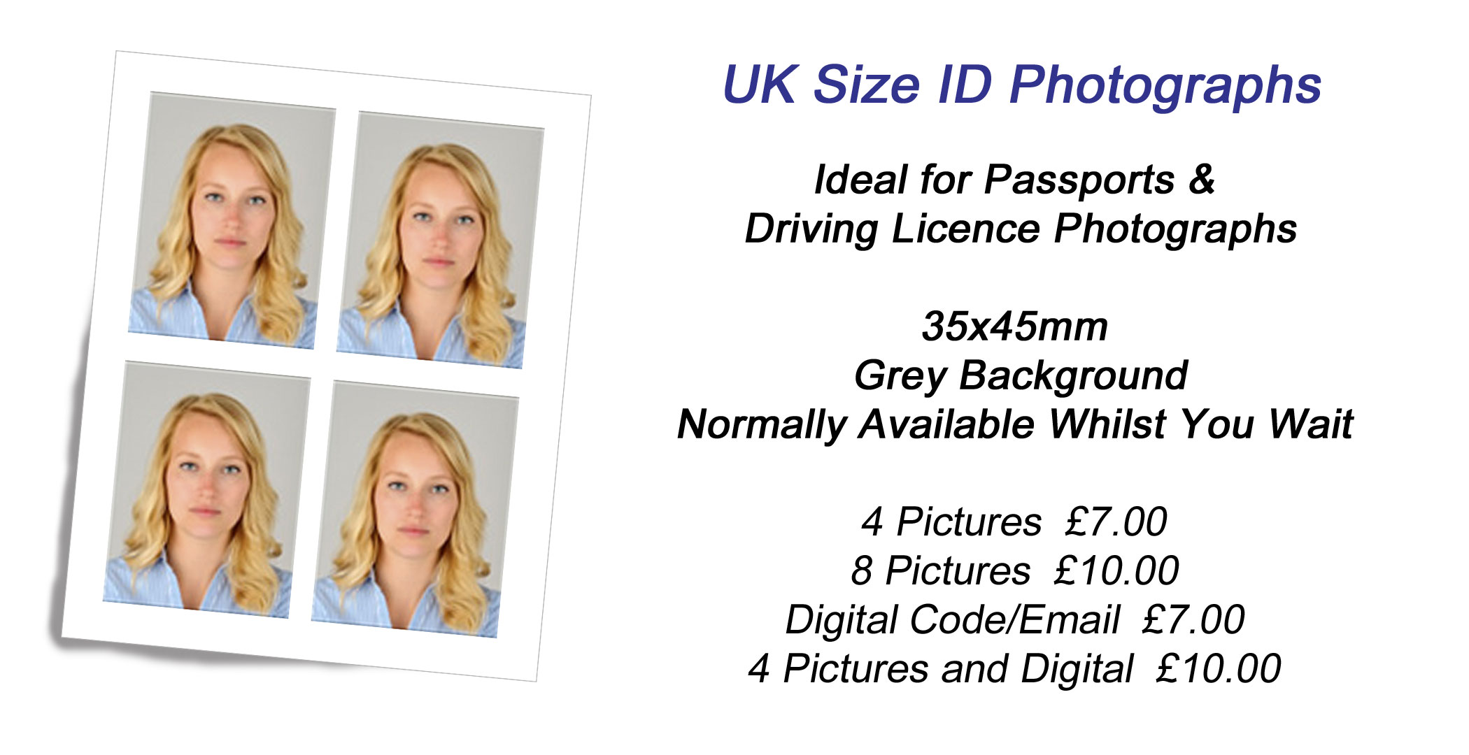 UK Size ID Photographs. Ideal for Passport and Driving Licence. 35x45mm, Grey Background.