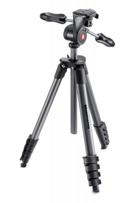 Manfrotto MKCOMPACTADV-BK Tripod Kit with 3-Way Head